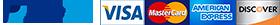 PayPal, Visa, MasterCard, American Express, Discover card logos